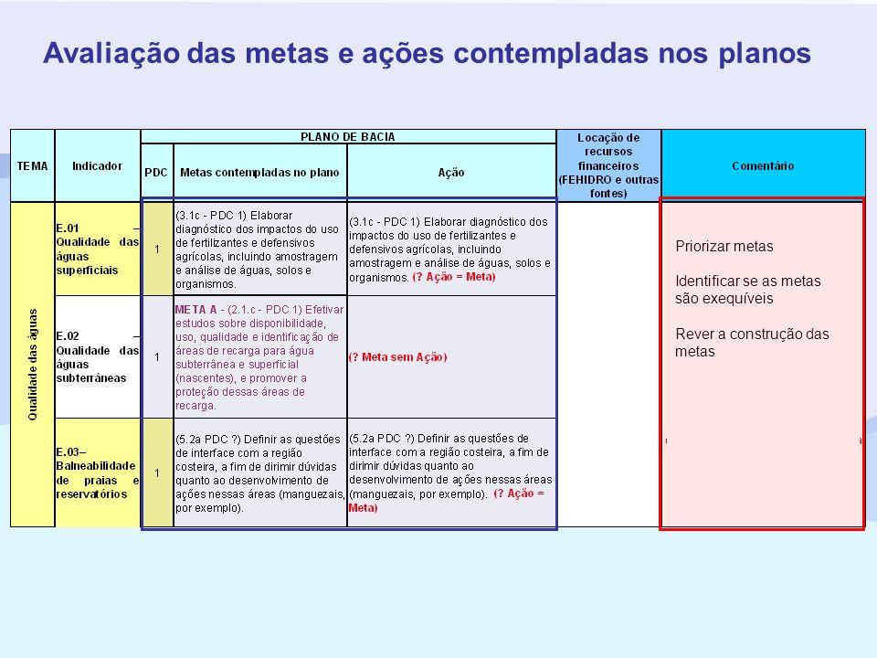 Avaliação das metas e ações contempladas nos planos Priorizar metas Identificar se as metas são exequíveis Rever a construção das metas
