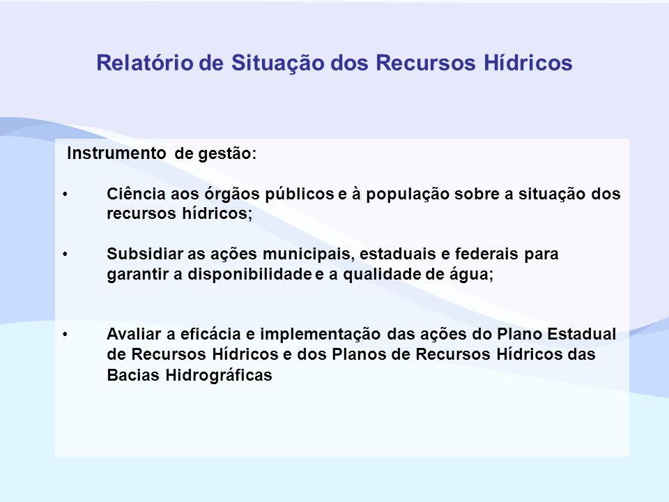 Relatório de Situação dos Recursos Hídricos Instrumento de gestão: Ciência aos órgãos públicos e à população sobre a situação dos recursos hídricos; S