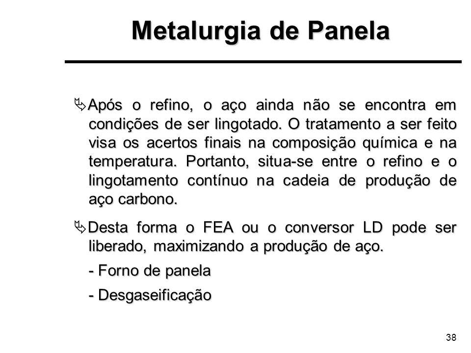 38 Metalurgia de Panela Após o refino, o aço ainda não se encontra em condições de ser lingotado. O tratamento a ser feito visa os acertos finais na c