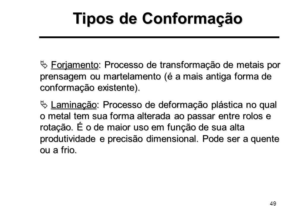 49 Forjamento: Processo de transformação de metais por prensagem ou martelamento (é a mais antiga forma de conformação existente). Laminação: Processo