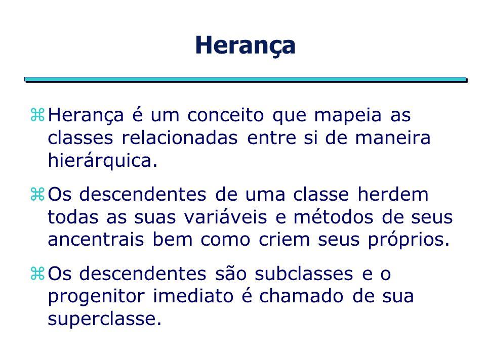 Herança public class Ponto { int x, y; Ponto(int x, int y){ this.x = x; this.y = y; } Ponto( ){ x = -1; y = -1; } public class Ponto3D extends Ponto { int z; Ponto3D(int x, int y, int z){ this.x = x; this.y = y; this.z = z; } Ponto3D( ){ x = -1; y = -1; z = -1; }