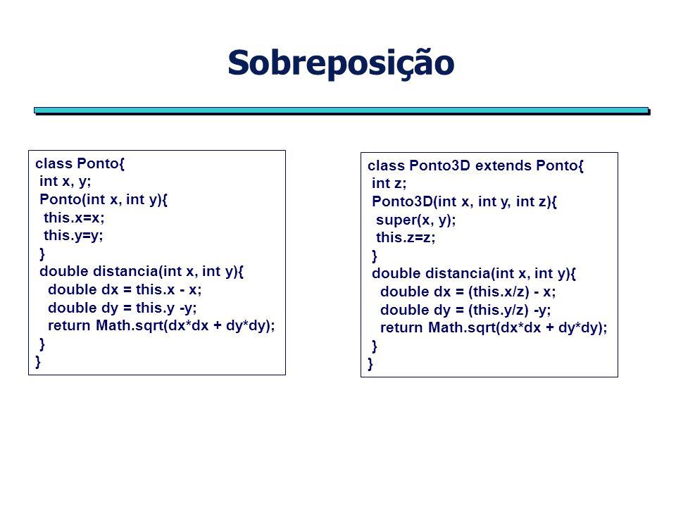 Ligação dinâmica public class A { void chameme( ) { System.out.println(Dentro do método chameme de A) } public class B extends A{ void chameme( ) { System.out.println(Dentro do método chameme de B); } public class DespachoDinamico{ public static void main (String args[ ]){ A obj1 = new B( ); obj1.chameme( ); }