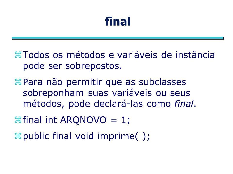 final zTodos os métodos e variáveis de instância pode ser sobrepostos.