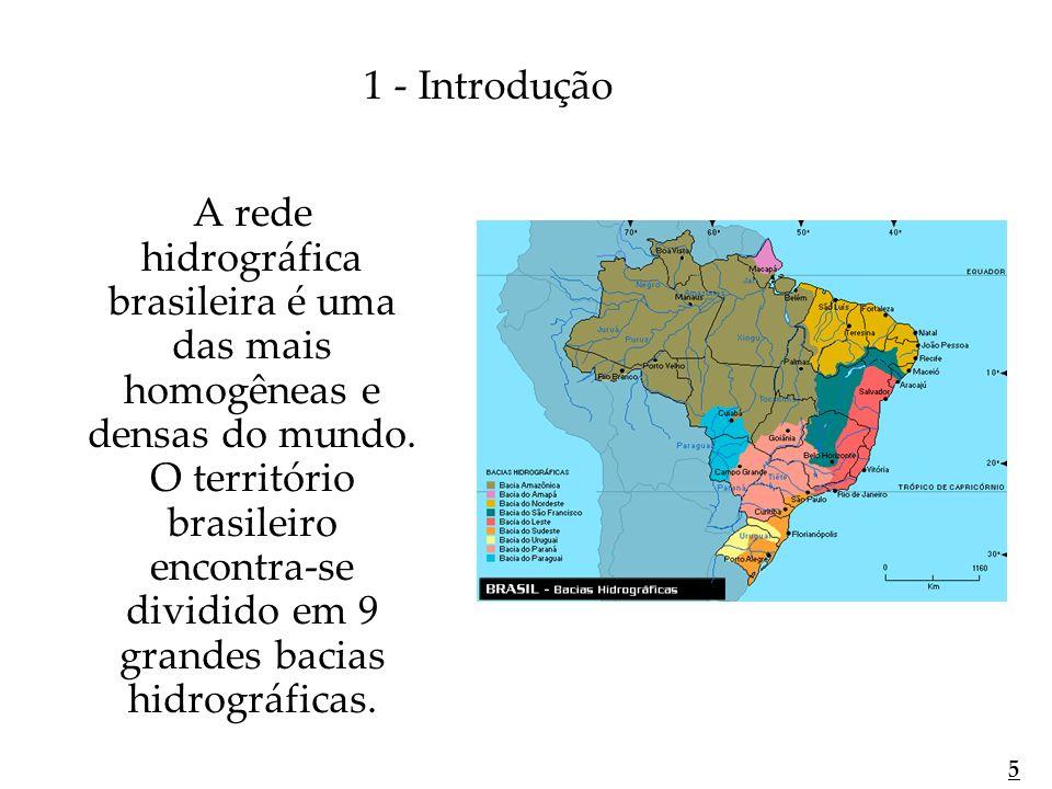 A rede hidrográfica brasileira é uma das mais homogêneas e densas do mundo. O território brasileiro encontra-se dividido em 9 grandes bacias hidrográf