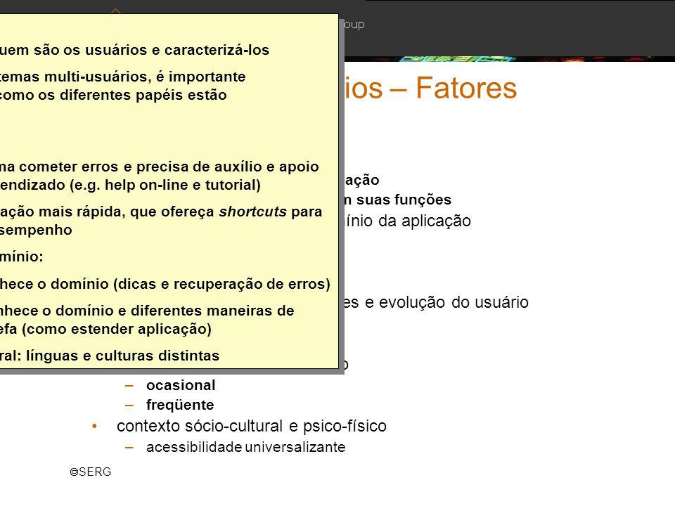 SERG Modelagem de Usuários – Fatores Exemplos: papel ou função do usuário –papel do usuário na organização –impacto do novo sistema em suas funções ní