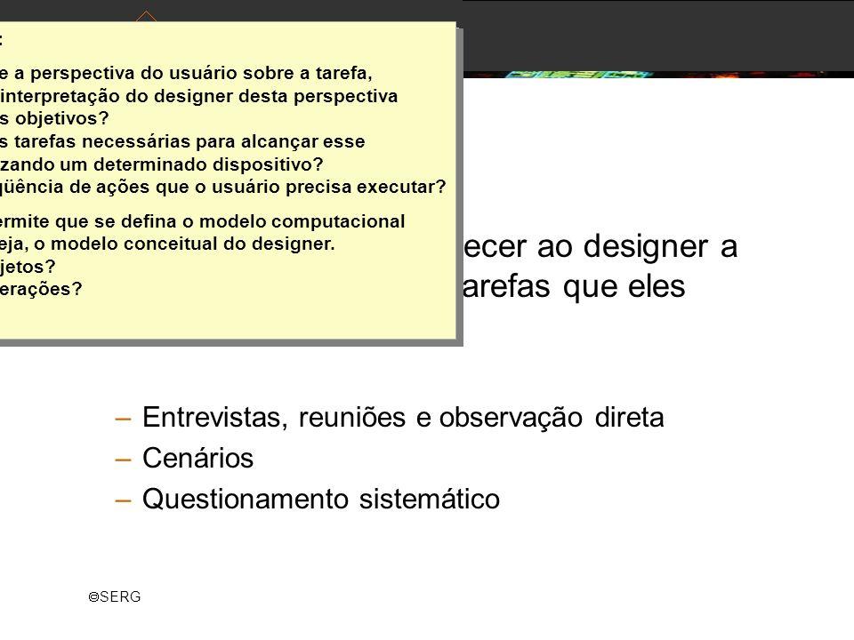SERG Análise de Tarefas Objetivo da análise: fornecer ao designer a visão dos usuários das tarefas que eles precisam realizar. –Entrevistas, reuniões