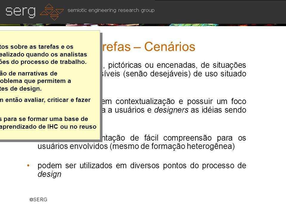 SERG Análise de Tarefas – Cenários narrativas textuais, pictóricas ou encenadas, de situações fictícias mas plausíveis (senão desejáveis) de uso situa