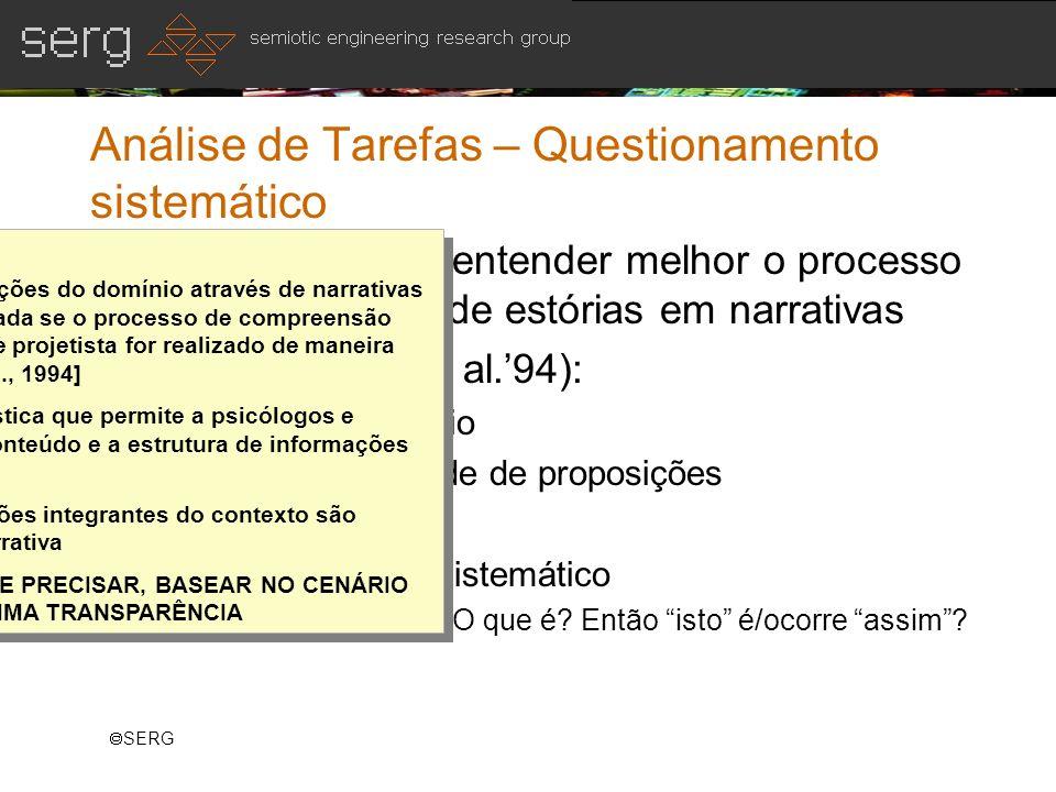 SERG Análise de Tarefas – Questionamento sistemático Objetivo: para se entender melhor o processo de compreensão de estórias em narrativas Técnica (Ca