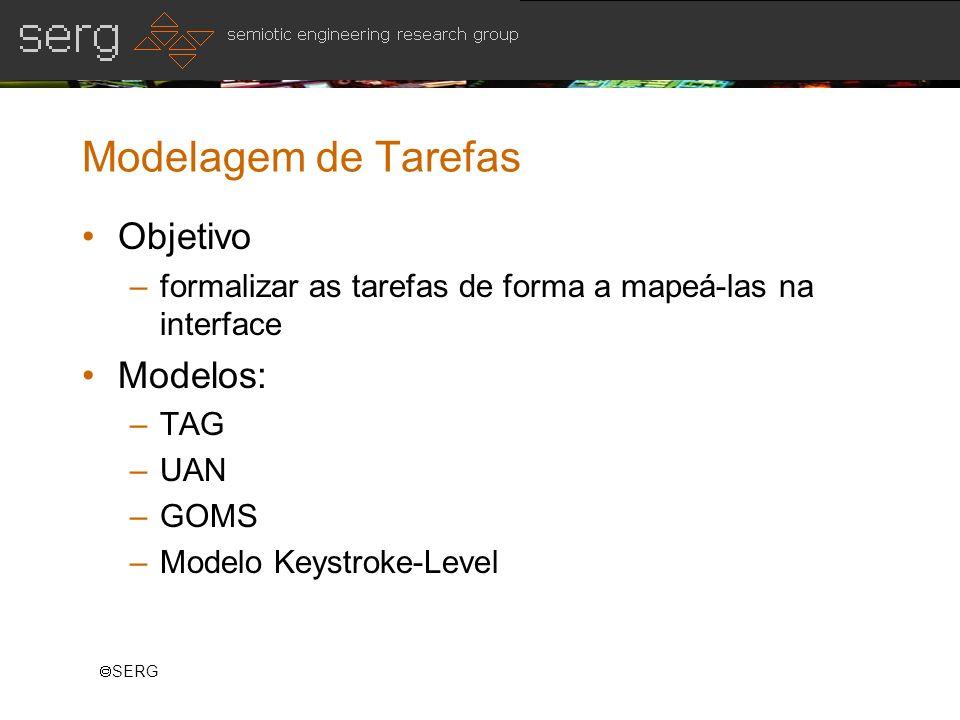 SERG Modelagem de Tarefas Objetivo –formalizar as tarefas de forma a mapeá-las na interface Modelos: –TAG –UAN –GOMS –Modelo Keystroke-Level