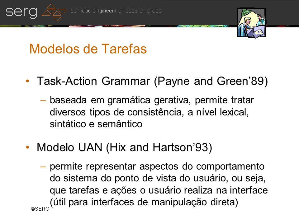 SERG Modelos de Tarefas Task-Action Grammar (Payne and Green89) –baseada em gramática gerativa, permite tratar diversos tipos de consistência, a nível