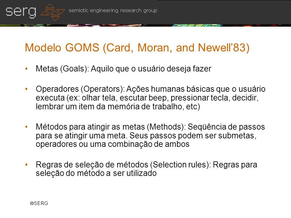 SERG Modelo GOMS (Card, Moran, and Newell83) Metas (Goals): Aquilo que o usuário deseja fazer Operadores (Operators): Ações humanas básicas que o usuá