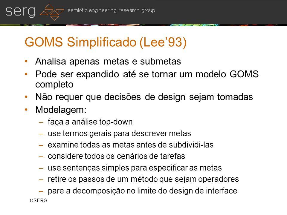 SERG GOMS Simplificado (Lee93) Analisa apenas metas e submetas Pode ser expandido até se tornar um modelo GOMS completo Não requer que decisões de des