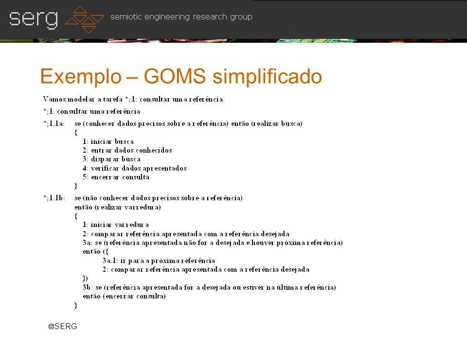 SERG Exemplo – GOMS simplificado