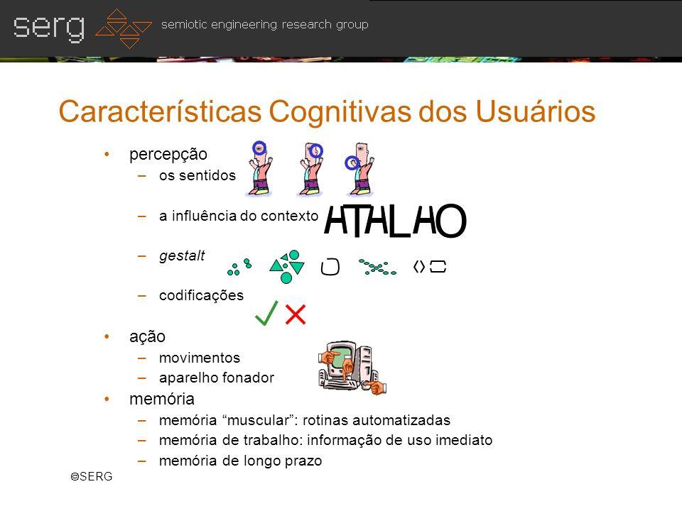 SERG Características Cognitivas dos Usuários percepção –os sentidos –a influência do contexto –gestalt –codificações ação –movimentos –aparelho fonado
