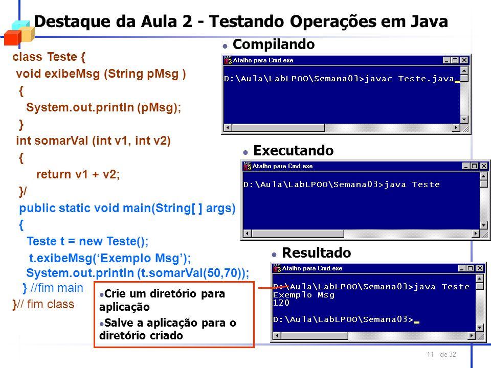 de 32 11 Destaque da Aula 2 - Testando Operações em Java class Teste { void exibeMsg (String pMsg ) { System.out.println (pMsg); } int somarVal (int v