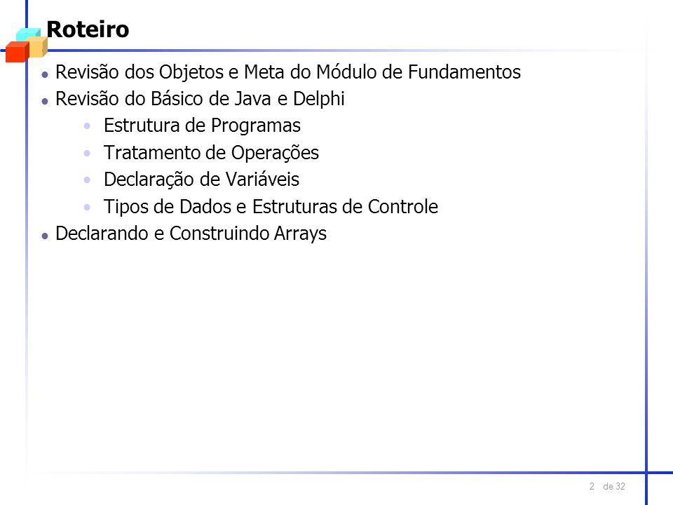 de 32 2 Roteiro l Revisão dos Objetos e Meta do Módulo de Fundamentos l Revisão do Básico de Java e Delphi Estrutura de Programas Tratamento de Operaç