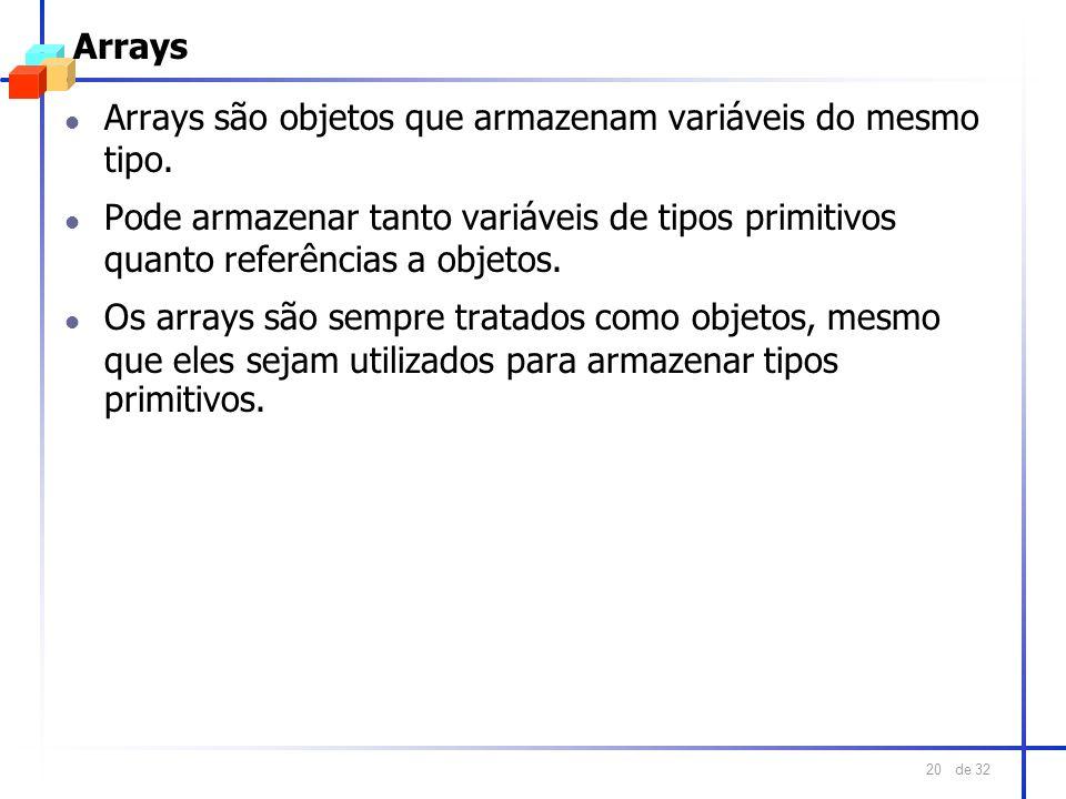 de 32 20 Arrays l Arrays são objetos que armazenam variáveis do mesmo tipo. l Pode armazenar tanto variáveis de tipos primitivos quanto referências a