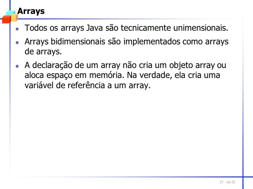 de 32 21 Arrays l Todos os arrays Java são tecnicamente unimensionais. l Arrays bidimensionais são implementados como arrays de arrays. l A declaração