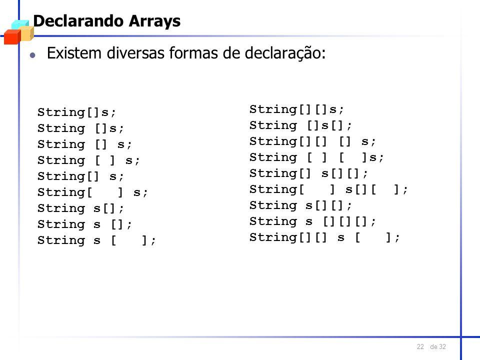 de 32 22 Declarando Arrays l Existem diversas formas de declaração: String[][]s; String []s[]; String[][] [] s; String [ ] [ ]s; String[] s[][]; Strin