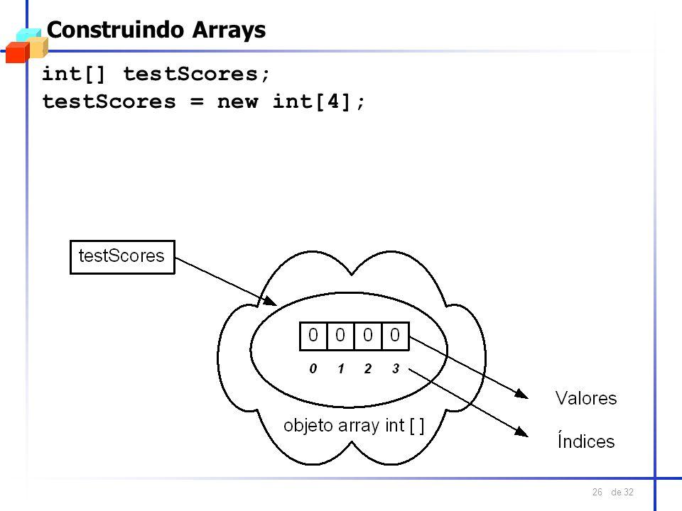 de 32 26 Construindo Arrays int[] testScores; testScores = new int[4];