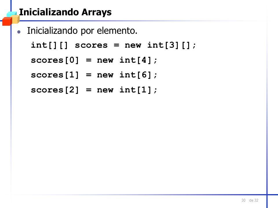 de 32 30 Inicializando Arrays l Inicializando por elemento. int[][] scores = new int[3][]; scores[0] = new int[4]; scores[1] = new int[6]; scores[2] =