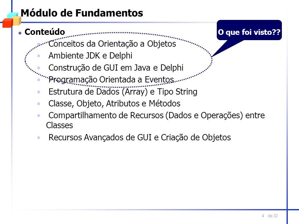 de 32 4 Módulo de Fundamentos l Conteúdo Conceitos da Orientação a Objetos Ambiente JDK e Delphi Construção de GUI em Java e Delphi Programação Orient