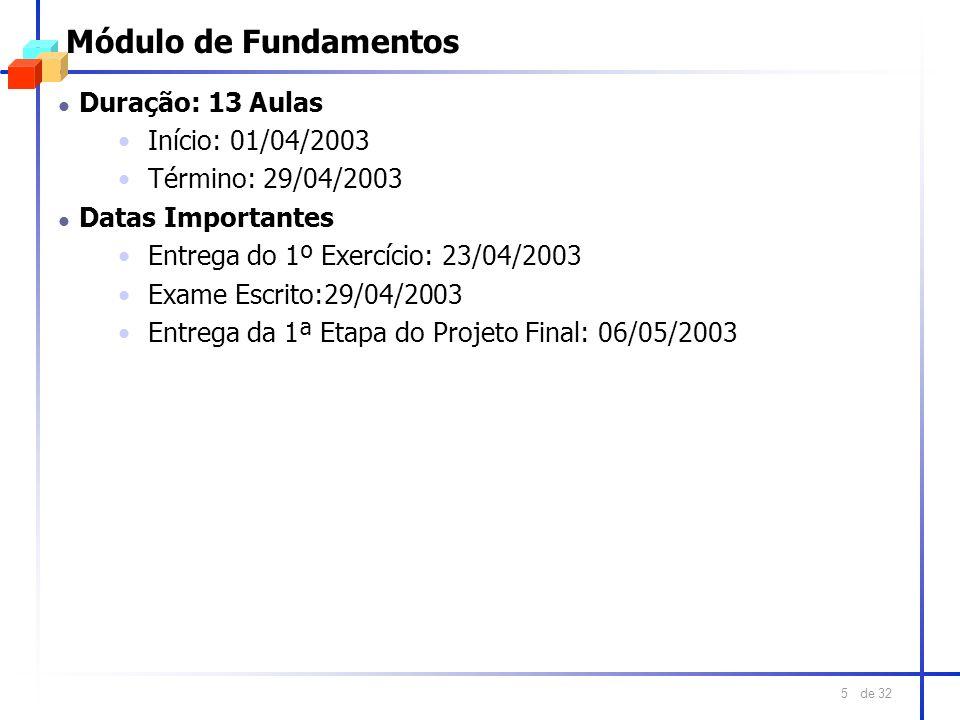de 32 5 Módulo de Fundamentos l Duração: 13 Aulas Início: 01/04/2003 Término: 29/04/2003 l Datas Importantes Entrega do 1º Exercício: 23/04/2003 Exame