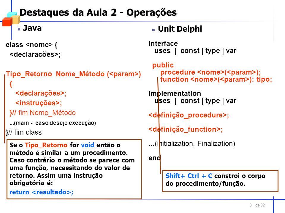 de 32 8 Destaques da Aula 2 - Operações l Java class { ; Tipo_Retorno Nome_Método ( ) { ; }// fim Nome_Método...(main - caso deseje execução) }// fim