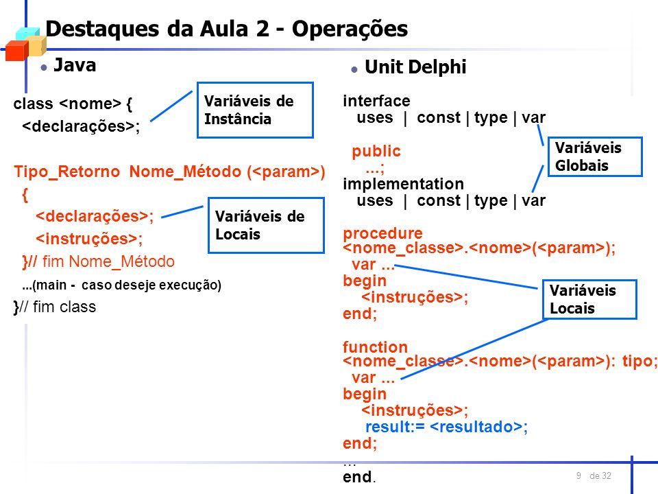 de 32 9 Destaques da Aula 2 - Operações l Java class { ; Tipo_Retorno Nome_Método ( ) { ; }// fim Nome_Método...(main - caso deseje execução) }// fim