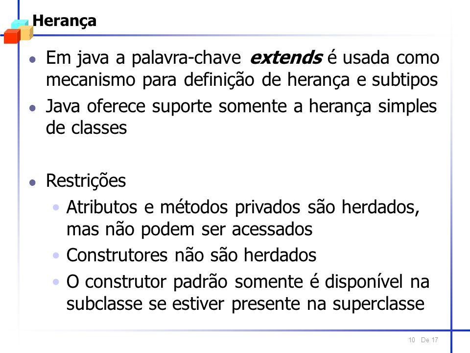 De 17 10 Herança l Em java a palavra-chave extends é usada como mecanismo para definição de herança e subtipos l Java oferece suporte somente a heranç