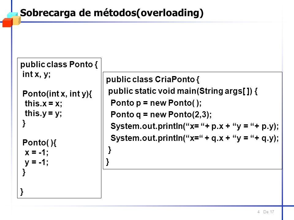 De 17 4 Sobrecarga de métodos(overloading) public class Ponto { int x, y; Ponto(int x, int y){ this.x = x; this.y = y; } Ponto( ){ x = -1; y = -1; } public class CriaPonto { public static void main(String args[ ]) { Ponto p = new Ponto( ); Ponto q = new Ponto(2,3); System.out.println(x= + p.x + y = + p.y); System.out.println(x= + q.x + y = + q.y); }