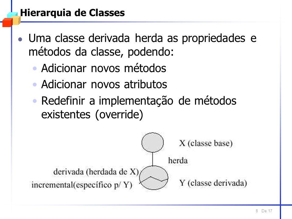 De 17 8 Hierarquia de Classes l Uma classe derivada herda as propriedades e métodos da classe, podendo: Adicionar novos métodos Adicionar novos atributos Redefinir a implementação de métodos existentes (override)