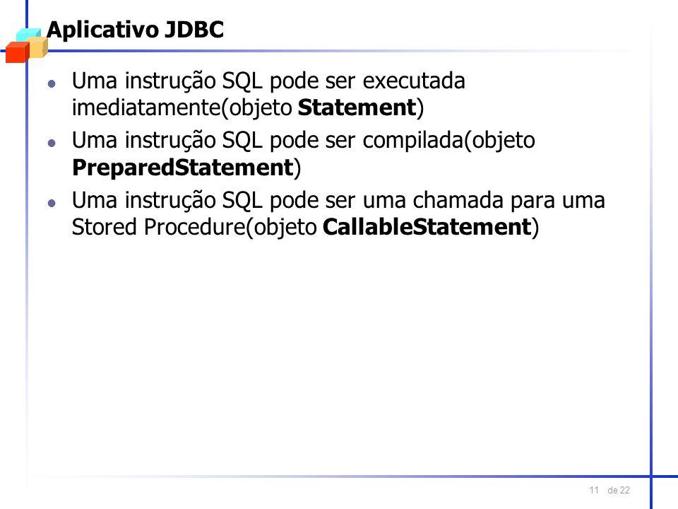 de 22 11 Aplicativo JDBC l Uma instrução SQL pode ser executada imediatamente(objeto Statement) l Uma instrução SQL pode ser compilada(objeto Prepared