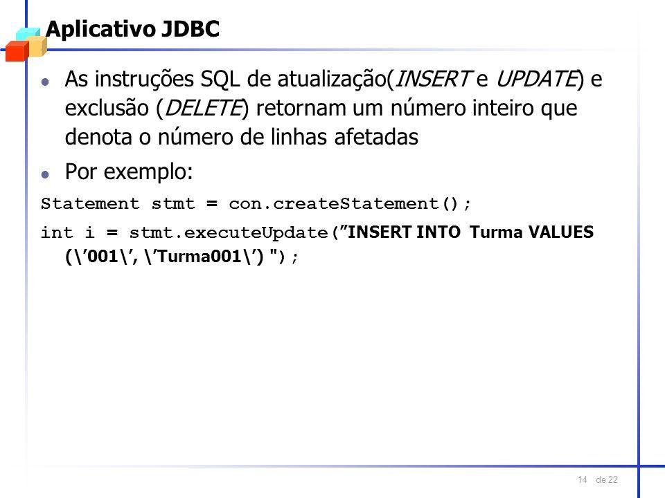 de 22 14 Aplicativo JDBC l As instruções SQL de atualização(INSERT e UPDATE) e exclusão (DELETE) retornam um número inteiro que denota o número de lin