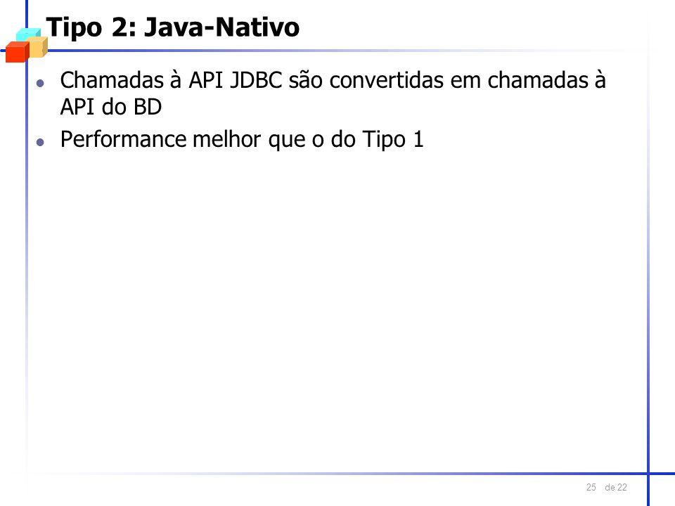 de 22 25 Tipo 2: Java-Nativo l Chamadas à API JDBC são convertidas em chamadas à API do BD l Performance melhor que o do Tipo 1
