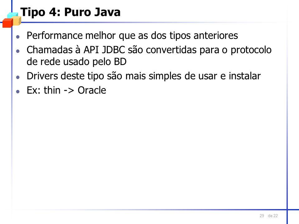 de 22 29 Tipo 4: Puro Java l Performance melhor que as dos tipos anteriores l Chamadas à API JDBC são convertidas para o protocolo de rede usado pelo