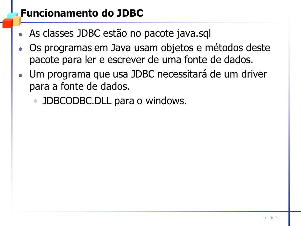 de 22 5 Funcionamento do JDBC l As classes JDBC estão no pacote java.sql l Os programas em Java usam objetos e métodos deste pacote para ler e escreve
