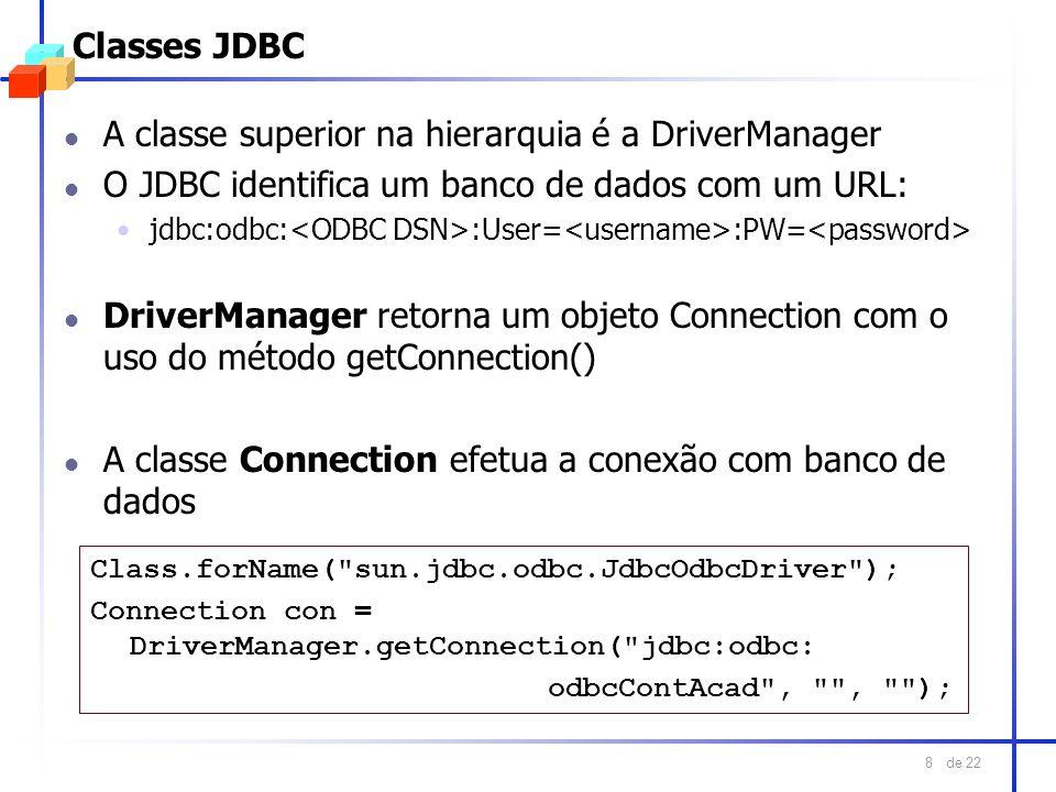 de 22 8 Classes JDBC l A classe superior na hierarquia é a DriverManager l O JDBC identifica um banco de dados com um URL: jdbc:odbc: :User= :PW= l Dr