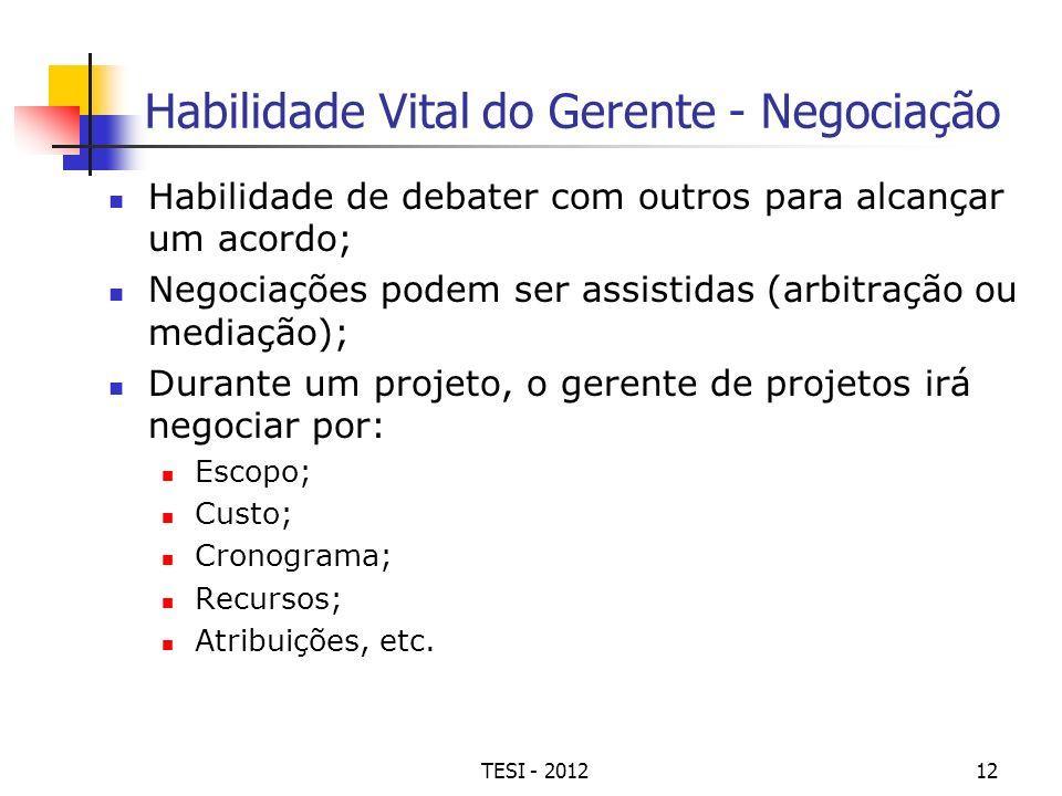 TESI - 201212 Habilidade Vital do Gerente - Negociação Habilidade de debater com outros para alcançar um acordo; Negociações podem ser assistidas (arb