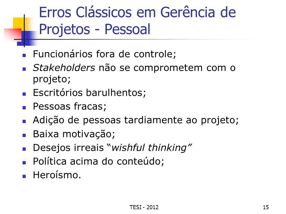 TESI - 201215 Erros Clássicos em Gerência de Projetos - Pessoal Funcionários fora de controle; Stakeholders não se comprometem com o projeto; Escritór