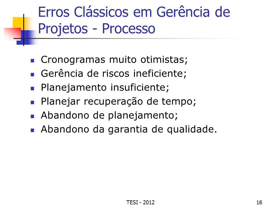 TESI - 201216 Erros Clássicos em Gerência de Projetos - Processo Cronogramas muito otimistas; Gerência de riscos ineficiente; Planejamento insuficient