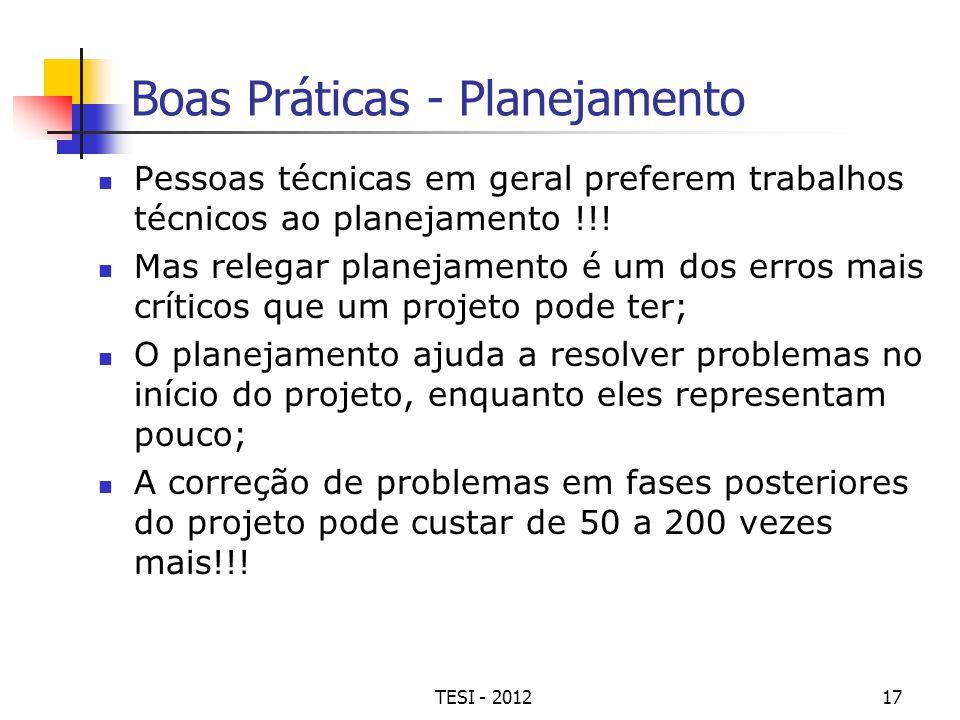 TESI - 201217 Boas Práticas - Planejamento Pessoas técnicas em geral preferem trabalhos técnicos ao planejamento !!! Mas relegar planejamento é um dos