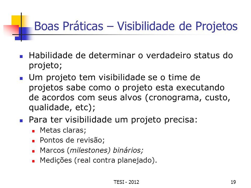 TESI - 201219 Boas Práticas – Visibilidade de Projetos Habilidade de determinar o verdadeiro status do projeto; Um projeto tem visibilidade se o time