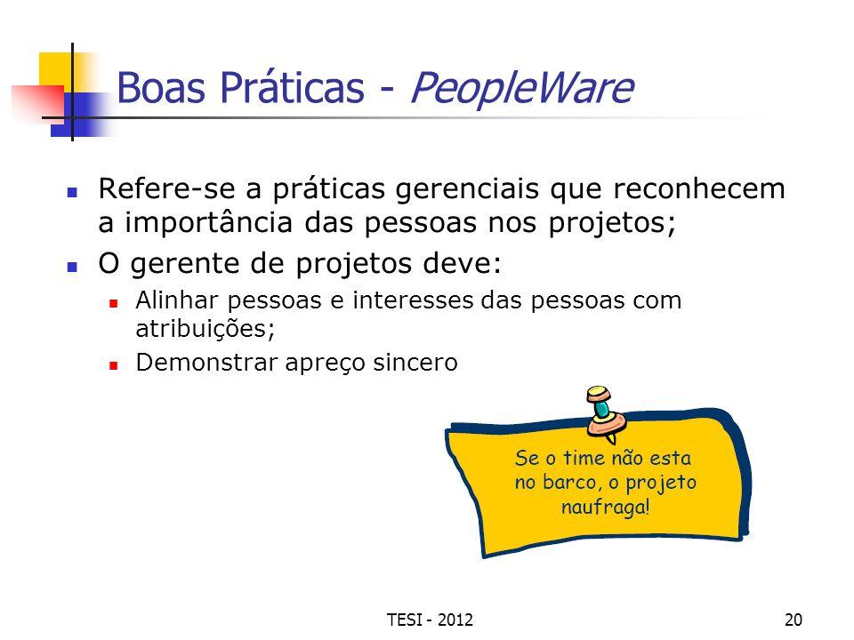 TESI - 201220 Boas Práticas - PeopleWare Refere-se a práticas gerenciais que reconhecem a importância das pessoas nos projetos; O gerente de projetos