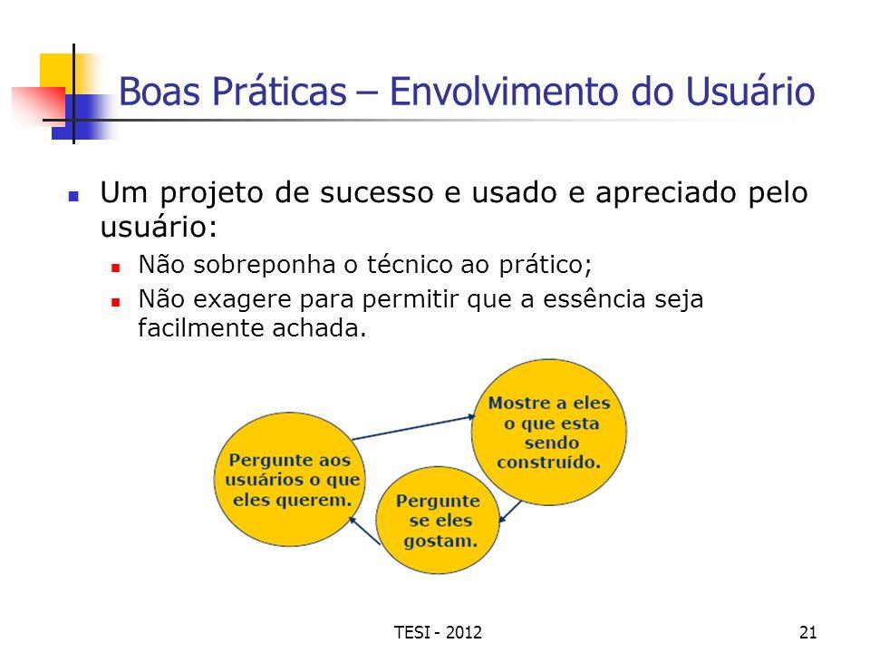 TESI - 201221 Boas Práticas – Envolvimento do Usuário Um projeto de sucesso e usado e apreciado pelo usuário: Não sobreponha o técnico ao prático; Não