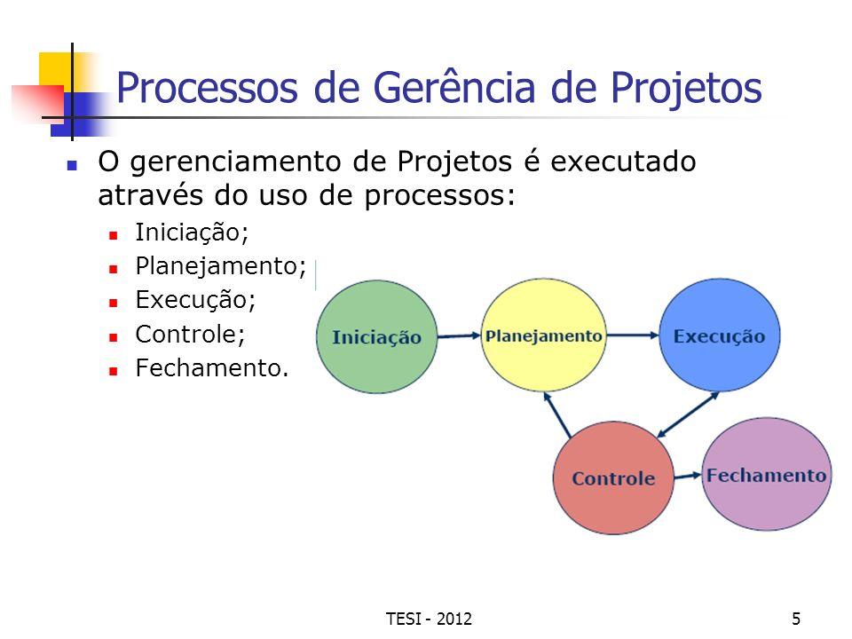 TESI - 20125 Processos de Gerência de Projetos O gerenciamento de Projetos é executado através do uso de processos: Iniciação; Planejamento; Execução;