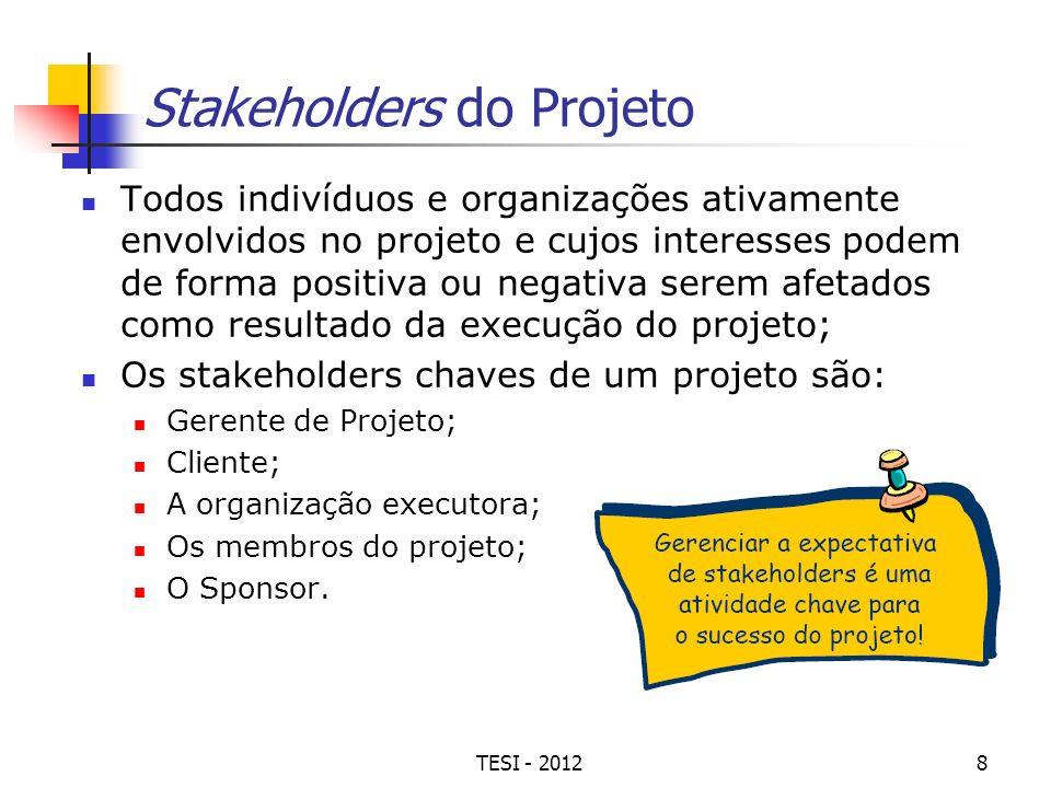 TESI - 20128 Stakeholders do Projeto Todos indivíduos e organizações ativamente envolvidos no projeto e cujos interesses podem de forma positiva ou ne
