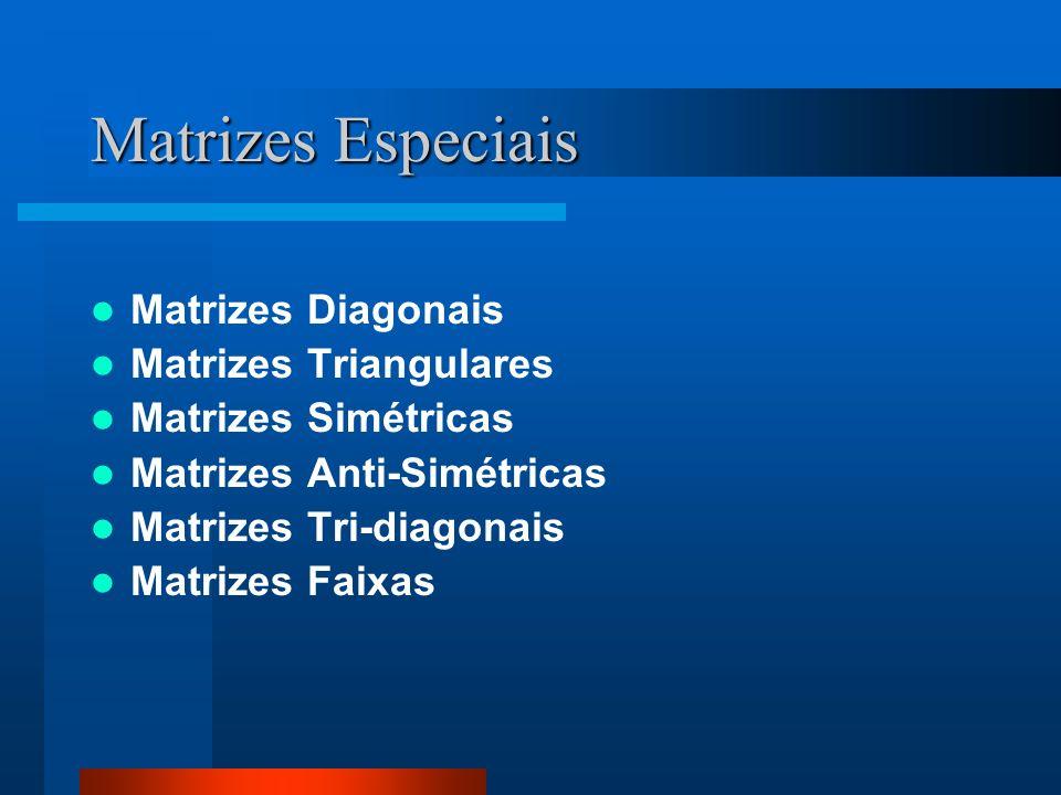 Matrizes Especiais Matrizes Diagonais Matrizes Triangulares Matrizes Simétricas Matrizes Anti-Simétricas Matrizes Tri-diagonais Matrizes Faixas