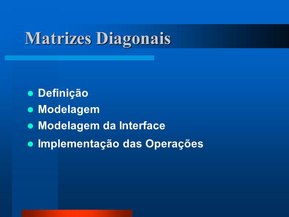 Matrizes Diagonais Definição Modelagem Modelagem da Interface Implementação das Operações