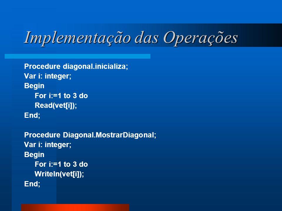 Implementação das Operações Procedure diagonal.inicializa; Var i: integer; Begin For i:=1 to 3 do Read(vet[i]); End; Procedure Diagonal.MostrarDiagona